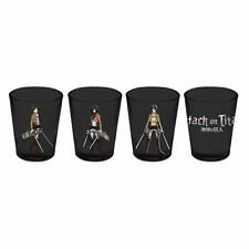 Levi Attack On Titan 4 Pack Shot Glasses Black with Character AOT Swords New
