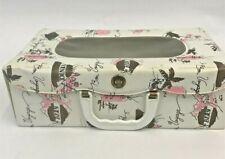 Vintage Doll Case White Vinyl Bon Voyage Travel Suitcase Carrier Baby Clothes
