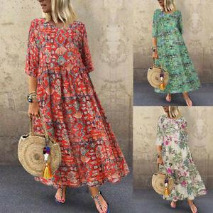 ZANZEA Women Vintage 3/4 Sleeve Casual Long Shirt Dress Floral Print Midi Dress