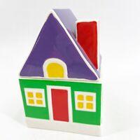 Vintage Porcelain House Lidded Trinket Box Tea Caddy Crayon Colorful Red Purple