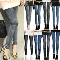 Womens Denim Jeans Pencil Pants Winter Leggings Skinny Slim Trousers Ripped Soft