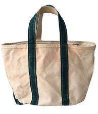 Vintage LL Bean Boat & Tote Canvas Bag Zippered Green Natural