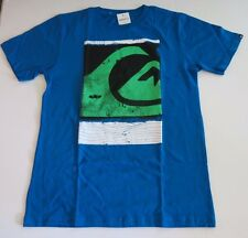 Quiksilver Boys L Short Sleeve Blue Green Caption Surf Tee T-Shirt Cotton NWT