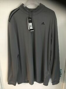 Mens Grey Adidas Climacool Long Sleeved Sports Training Top. Half Zip. Size L.