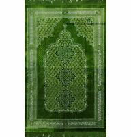 Plush Ipek Islamic Turkish Janamaz Prayer Rug Geometric Floral - Bright Green