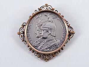 2 Mark Deutsches Reich Münze 1901 / Münzbrosche Silber mit vergoldeter Fassung