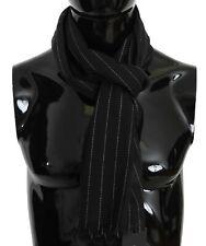 DOLCE & GABBANA Scarf Black White Striped Silk Mens Shawl 70cmx180cm RRP $380