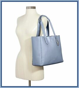 NEW COACH DERBY TOTE SHOULDER HAND BAG PEBBLE LEATHER BLUE ROOMY SNAP CLOSURE