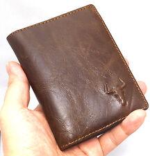 Men's Genuine Leather Wallet 10 Regular Credit Card Slots 1 ID Window Purse-3832