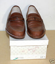 GUCCI vintage tan penny loafer with croc band in box   44.5 S Narrow width