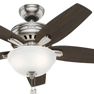 "Hunter 42"" Brushed Nickel Ceiling Fan with Bowl Light kit"