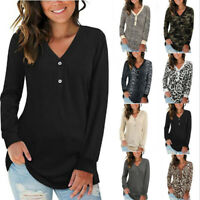 Women Long Sleeve T Shirt Buttons V Neck Casual Tops Loose Blouse Floral Tunic