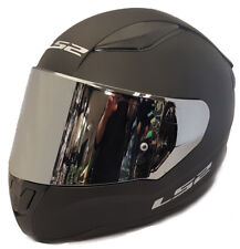 LS2 FULL FACE MOTORCYCLE CRASH HELMET MATT BLACK + MIRRORED CHROME TINTED VISOR
