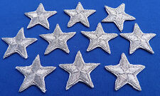 * Pack of 10 Silver iron-on or sew-on star patches / applique > hand finished *
