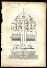 Antique print ROPE LAYING MACHINE engraving - 1835