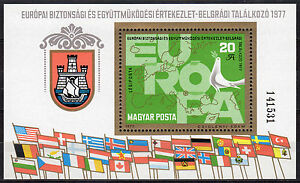 HUNGARY MAGYAR 1977 EUROPA Map & Dove Souvenir Sheet MNH - FREE SHIPPING