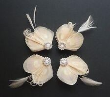 Set of 4 Bridesmaids Hair Clips 'Lisette' Nude Cream PEACOCK Feather Fascinators