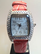 PEDRE Pink Leather ladies watch 6829sx with fancy metalic face & crystal case