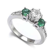 .83CT 14K WHITE GOLD EMERALD & DIAMOND ENGAGEMENT RING #R896