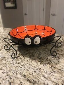 Halloween DII 10 Inch Ceramic Spider Web? Candy Bowl New in box