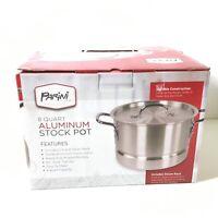 Parini Cookware 8-quart Aluminum Stock Pot W/Lid & Steamer Rack !  W170