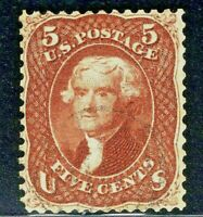 [X]  US #75  Used [Very Lightly Cancelled]1861 Red Brown 5c Jefferson