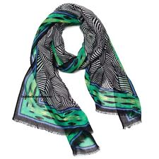 Penelope Ann Zebra Stripe Scarf  Shoulder Wrap Black & White Green LARGE 70x27""