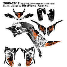 """Raptor 700 Graphics 09-12 DFR """"Fold"""" Black Orange Sides Fenders Raptor700 ATV"""
