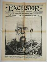 N732 La Une Du Journal Excelsior 23 novembre 1916 la mort de François-Joseph