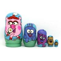 5pcs Bear Ears Russian Matryoshka Doll Wooden Nesting Dolls Baby Toys Gifts #3YE