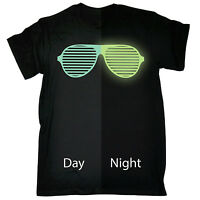 Glow In The Dark Sunglasses T-SHIRT Party Rave Festival Shades Gift Birthday