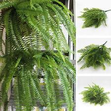 Green Large Plastic Lifelike Artificial Fern Foliage Bush Plants Indoor/Outdoor