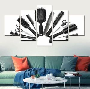 Scissor Comb Hair beauty 5 Pieces Canvas Wall Printed Picture Poster Home Decor