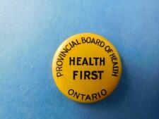 New listing Ontario Provincial Board Of Health First Vintage Button Pin Back Canada