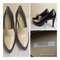 GEOX Respira Leather Court Shoes black Double leather UK 7.5 EU 40 MINT