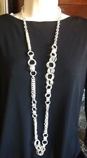 "NORDSTROM SEQUIN NYC STUNNING 40"" LONG BOLD SILVER MULTI LINK NECKLACE-$98-NWT!"