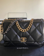 Chanel 19 Maxi Black Lambskin Leather Shoulder Bag