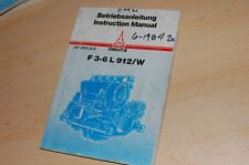 DEUTZ F 3-6 L 912W ENGINE Operation Maintenance Operator Manual Book owner liter