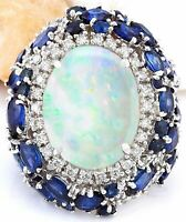 21.25 Carat Natural Opal, Sapphire 14K Solid White Gold Diamond Ring
