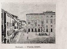 Stampa antica SASSARI piccola veduta Piazza Azuni Sardegna 1899 Old print