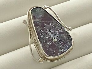 Vintage STERLING SILVER Brooch Pendant Roman Glass 6 grams #342