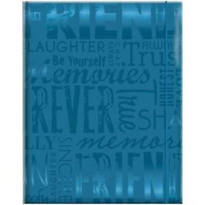 NEW EMBOSSED GLOSS EXPRESSIONS 4X6 PHOTO ALBUM 100 POCKET FRIENDS TEAL 823360