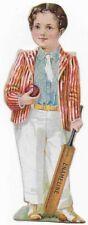 1890's Enameline Oberlin College Boy Cricket Player Victorian Trade Card