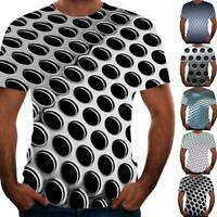 Männer Sommer personalisierte 3D geometrische Digitaldruck Casual T-Shirt W4I0