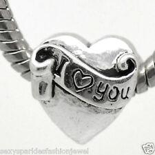 """""""I Love You"""" Heart European Charm For Snake Chain Charm Bracelet"""