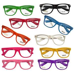 10 Stück Set NERD Brillen BUNT CLEAR schwarz 80er Nerd Style Brille Retro UV400