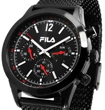 Herren Armbanduhr Schwarz Black Edelstahlmeshband 38-820-003 von FILA 198,- UVP
