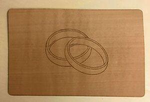Grußkarte aus Holz Geschenkkarte  Karte Eheringe Ringe mit  Umschlag Hochzeit