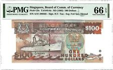 SINGAPORE $100 Dollars 1995 Ship Series, P-23c Tan S-6c PMG 66 EPQ Gem UNC Rare