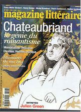 MAGAZINE LITTERAIRE N°366  1998  CHATEAUBRIAND LE GENIE DU ROMANTISME